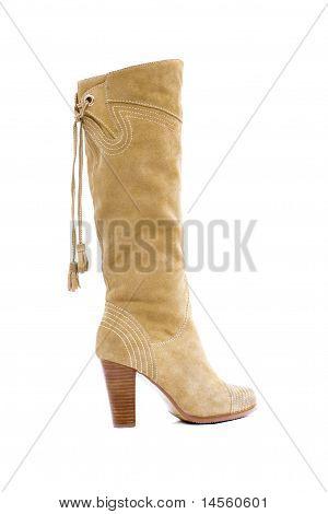 Beige Female Shammy Boot Isolated On White