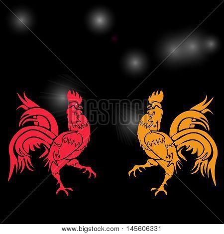 Two cocky rooster, red and yellow on a background of cock constellation . Chinese Horoscope - Rooster. Chinese New Year. Vector illustration
