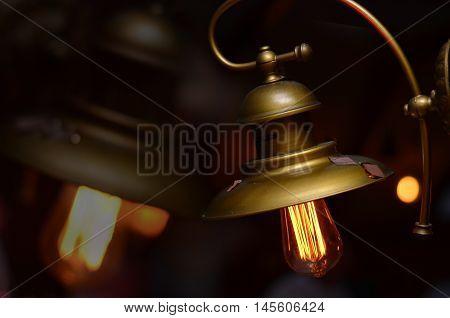 Warm lamp light beautifully illuminates the room