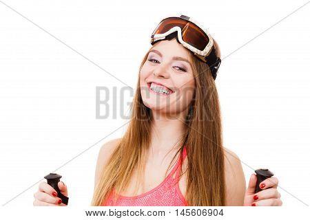 Cheerful Girl Wearing Skiing Gear.