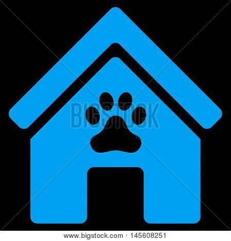 Doghouse icon. Vector style is flat iconic symbol, blue color, black background.