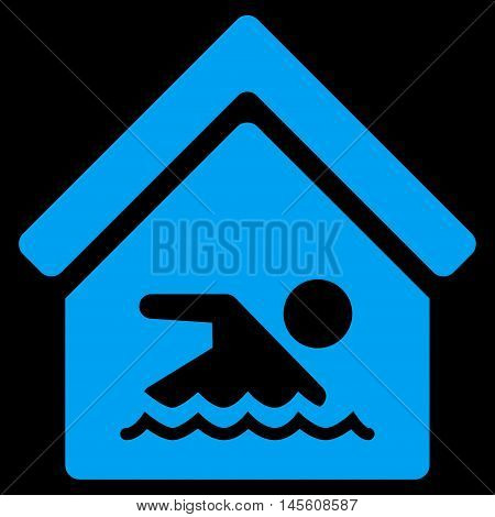 Indoor Water Pool icon. Vector style is flat iconic symbol, blue color, black background.