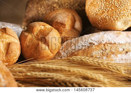 Variety of wheat bread and spikes, close up