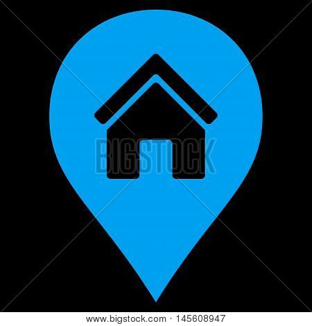 Realty Map Marker icon. Vector style is flat iconic symbol, blue color, black background.