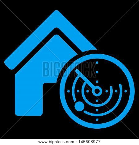 Realty Radar icon. Vector style is flat iconic symbol, blue color, black background.