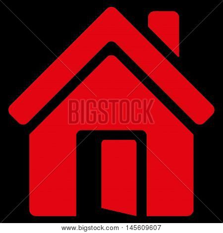 Open House Door icon. Vector style is flat iconic symbol red color black background.
