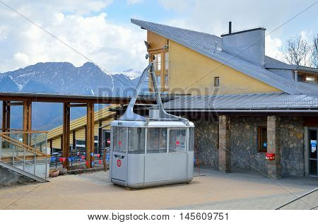 ZAKOPANE POLAND - MAY 8 2016: Antique wagon ropeway on the Kasprowy Peak in Tatra Mountanis Poland.