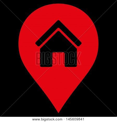 Realty Map Marker icon. Vector style is flat iconic symbol red color black background.