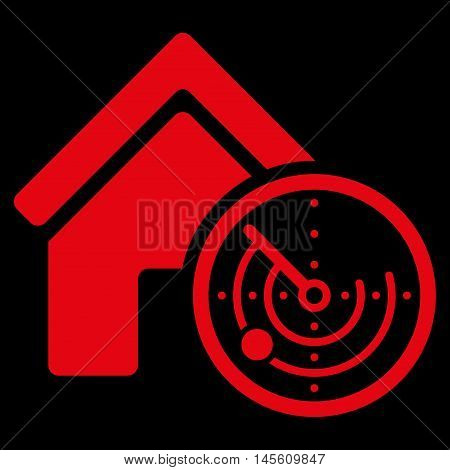 Realty Radar icon. Vector style is flat iconic symbol red color black background.