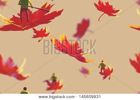 seamless pattern of small men on maple leaves, autumn cocept, illustration painting
