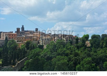 View of a district of Volterra in Italy