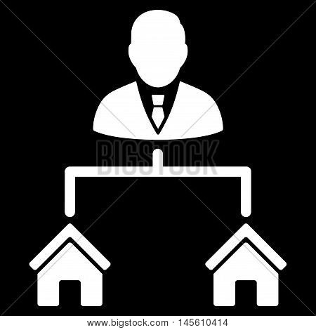 Realty Manager icon. Vector style is flat iconic symbol white color black background.