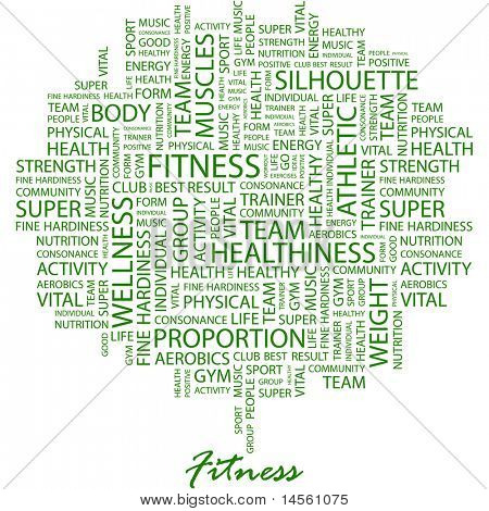 FITNESS. Word collage on white background. Vector illustration. Illustration with different association terms.