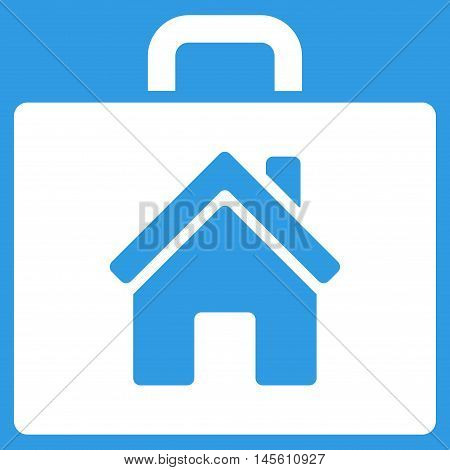 Realty Case icon. Vector style is flat iconic symbol white color blue background.