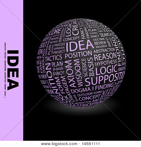IDEA. Globe with different association terms. Wordcloud vector illustration.