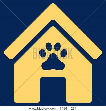 Doghouse icon. Vector style is flat iconic symbol yellow color blue background.