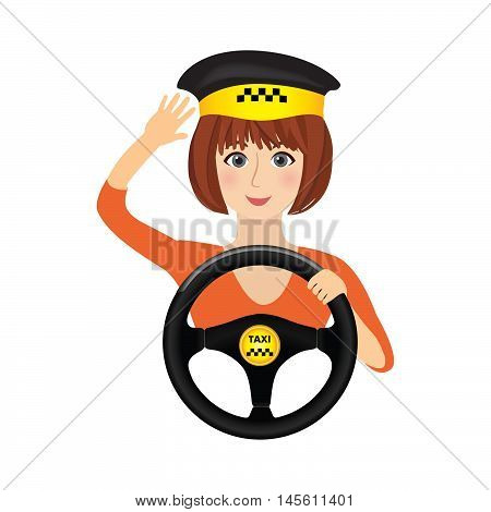 Taxi Driver Girl Holding Wheel. Concept Background Banner For Order A Taxi. Cartoon Illustration Of