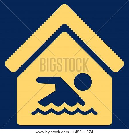 Indoor Water Pool icon. Vector style is flat iconic symbol yellow color blue background.
