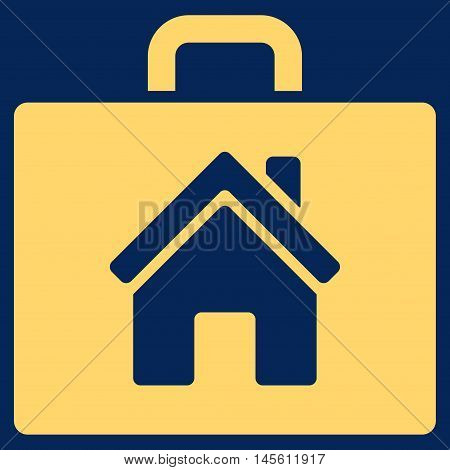 Realty Case icon. Vector style is flat iconic symbol yellow color blue background.