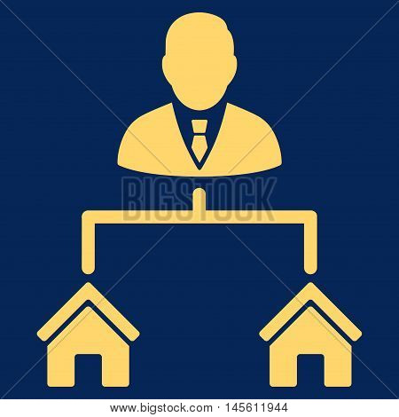 Realty Manager icon. Vector style is flat iconic symbol yellow color blue background.