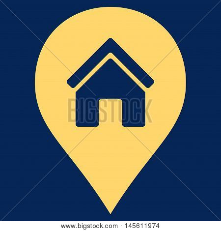 Realty Map Marker icon. Vector style is flat iconic symbol yellow color blue background.