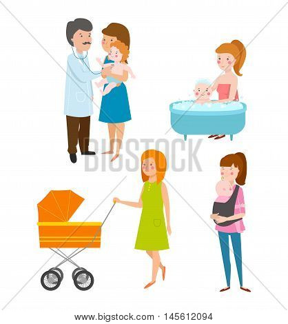 Young mother vector characters and young mother happy parent. Young mother vector set. Togetherness newborn face young mother lifestyle cheerful motherhood. Young family portrait