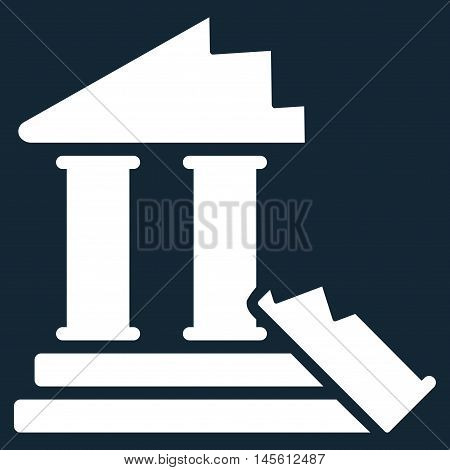 Historic Ruins icon. Vector style is flat iconic symbol, white color, dark blue background.