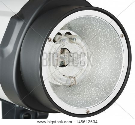 Studio flash head. Object is isolated on white background.