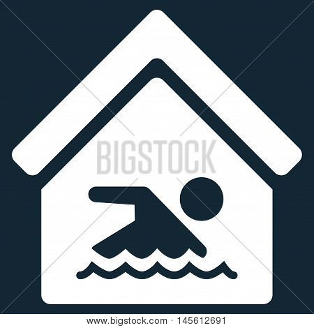 Indoor Water Pool icon. Vector style is flat iconic symbol, white color, dark blue background.