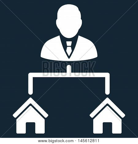 Realty Manager icon. Vector style is flat iconic symbol, white color, dark blue background.