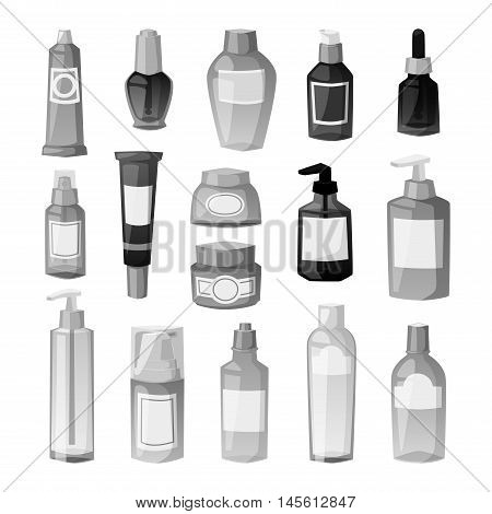 Blank package container design and pack template. Blank package merchandise product liquid clean household. Highly detailed flat colorful cosmetic blank package icon vector.