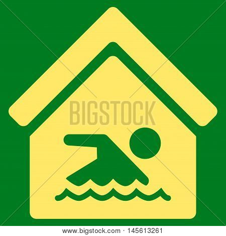Indoor Water Pool icon. Vector style is flat iconic symbol, yellow color, green background.