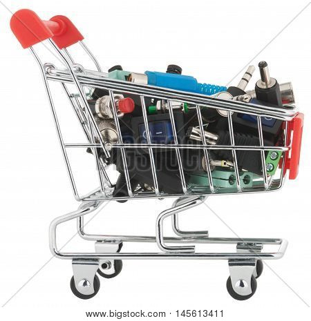 Shopping cart isolated on white background without shadows. Switches and jacks in shopping cart.