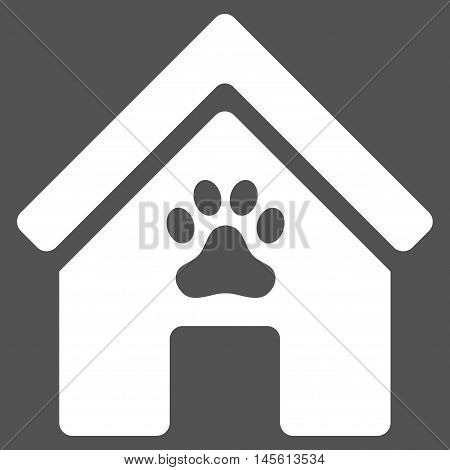 Doghouse icon. Vector style is flat iconic symbol, white color, gray background.