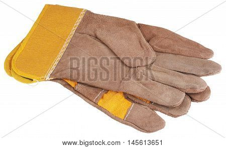 Leather work gloves isolated on white background without shadow