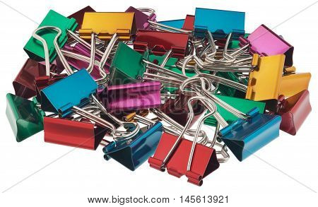 Multi-colored binder clips for paper. All of the objects in focus. Objects isolated on white background without shadows.
