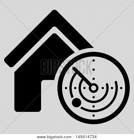 Realty Radar icon. Vector style is flat iconic symbol, black color, light gray background.