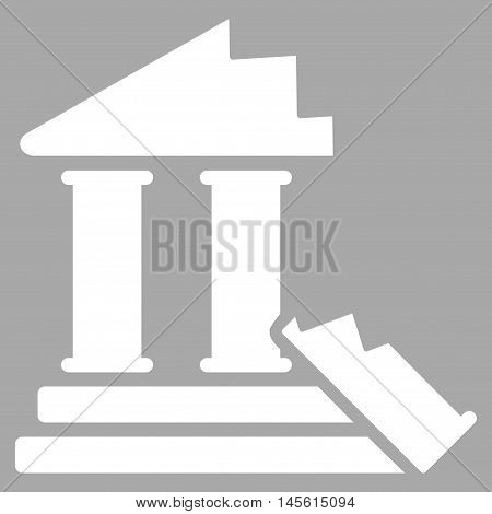 Historic Ruins icon. Vector style is flat iconic symbol, white color, silver background.