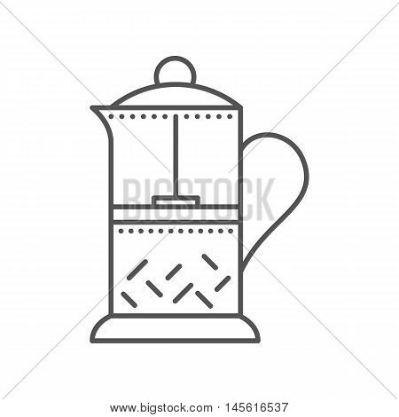Glass Teapot For Coffee And Tea. French Press Flat Icon.