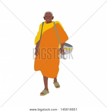 Illustration elderly Thai monk wearing a robe and almsbowl going on almsround isolated on white background