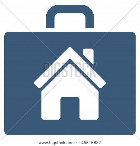 Realty Case icon. Vector style is flat iconic symbol, blue color, white background.