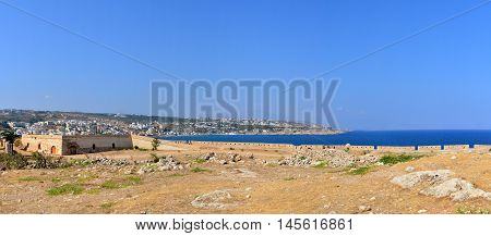 Rethymno city Greece Fortezza fortress panorama landmark architecture