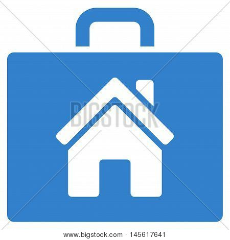 Realty Case icon. Vector style is flat iconic symbol, cobalt color, white background.