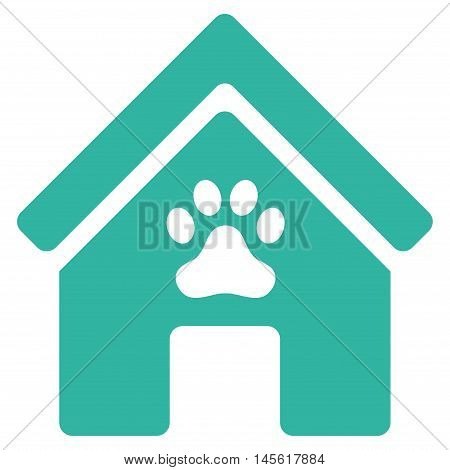 Doghouse icon. Vector style is flat iconic symbol, cyan color, white background.
