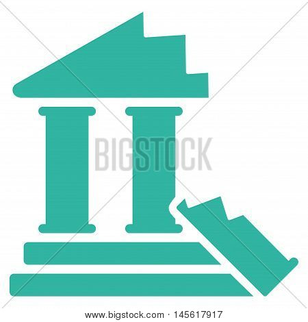 Historic Ruins icon. Vector style is flat iconic symbol, cyan color, white background.