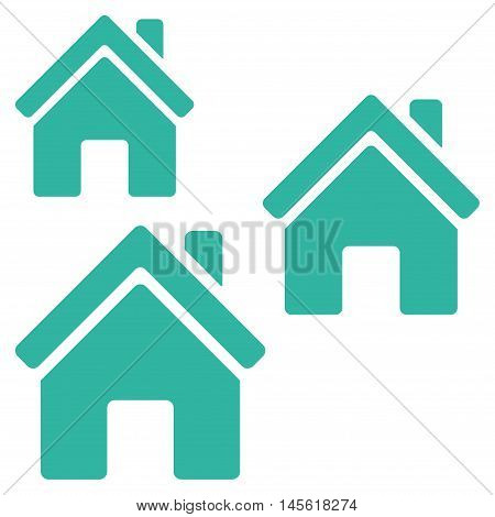 Village Buildings icon. Vector style is flat iconic symbol, cyan color, white background.