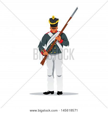 Infantryman with a rifle. Isolated on a white background