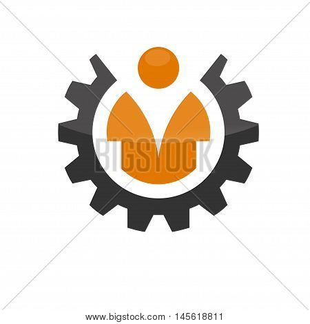 gear with man, Industrial theme worker man in wheel vector logo icon