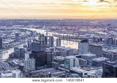 Aerial View Of Melbourne Cbd At Sunset