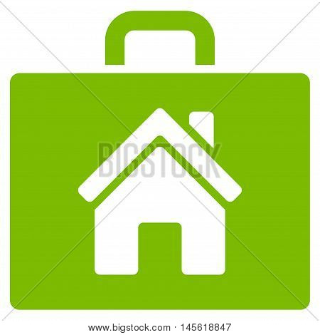 Realty Case icon. Vector style is flat iconic symbol, eco green color, white background.